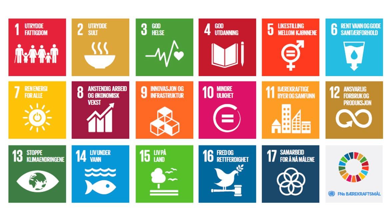 viser en illustrasjon over FNs nye bærekraftsmål
