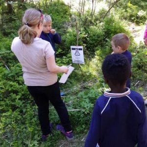 Barn som deltar på natursti og løser oppgaver sammen