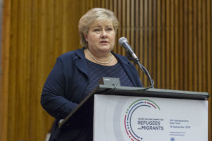 General Assembly Seventy-first session High-level plenary meeting on addressing large movements of refugees and migrants, 4th to 6th plenary meetings. H.E. Erna Solberg, Prime Minister of the Kingdom of Norway.
